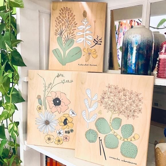 Leah Duncan Wooden Botanical Art Prints Set Target